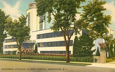 """cartolina della meravigliosa fabbrica della """"Calart Company"""" (California Artificial Flower Company)"""
