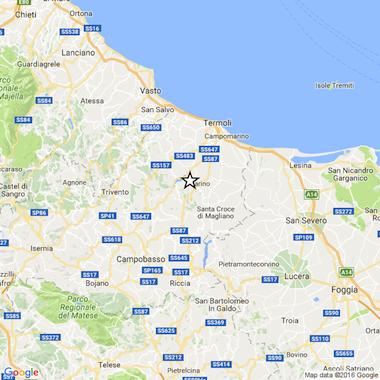 mappa terremoto molise 9 agosto