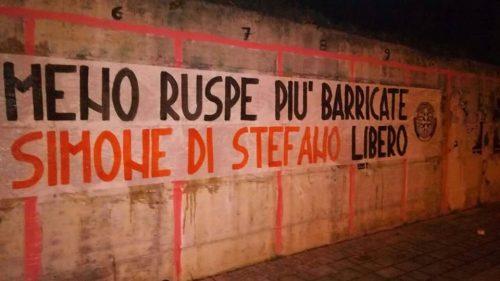 Striscione Casapound Isernia per Di Stefano libero