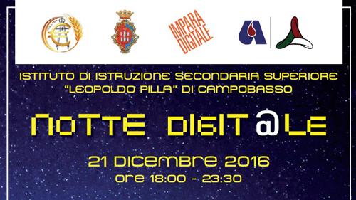 Campobasso, Notte Digitale il 21 dicembre all'Istituto Pilla