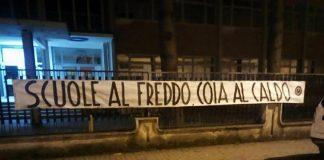 Isernia, striscione del Blocco Studentesco: 'Scuole al freddo, Coia al caldo'