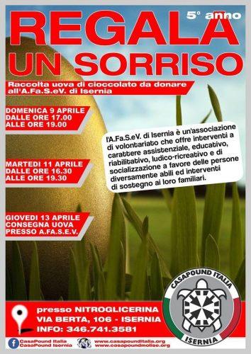 Isernia, domenica 9 e martedì 11 aprile CasaPound organizza raccolta uova di Pasqua per i bambini dell'AFaSeV