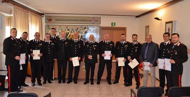 Isernia, premiati alcuni militari del Comando Provinciale Carabinieri