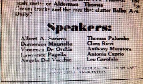 stralcio di un manifesto nel quale risulta tra gli oratori