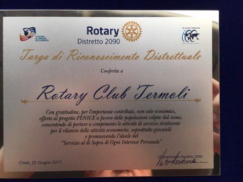 Riconoscimenti al Rotary club di Termoli