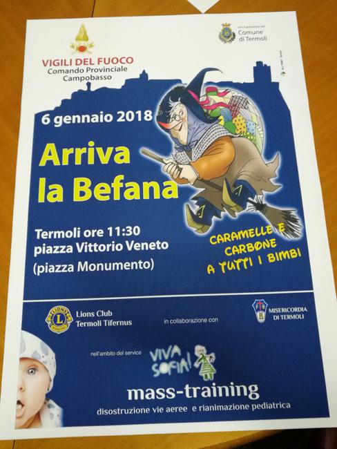 Termoli, festa della Befana sabato 6 gennaio in piazza