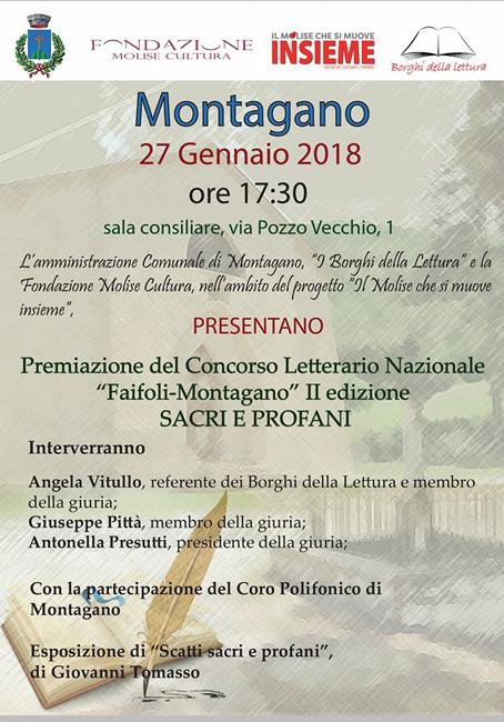 """2° Concorso letterario nazionale """"Faifoli Montagano"""", la premiazione"""