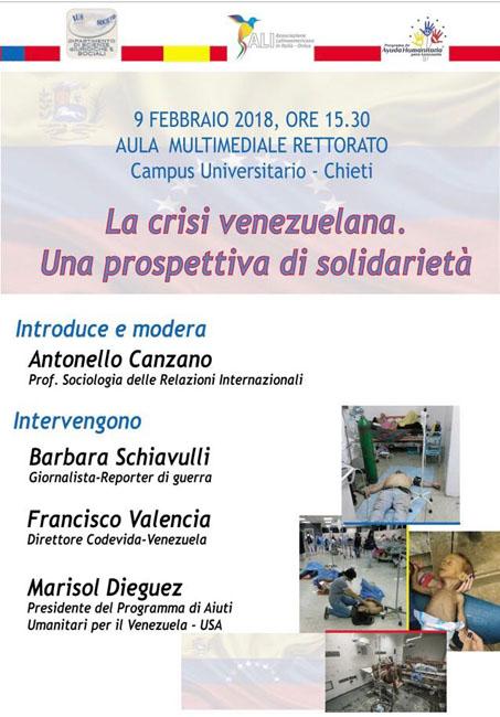 Seminario sulla crisi umanitaria in Venezuela il 9 febbraio 2018