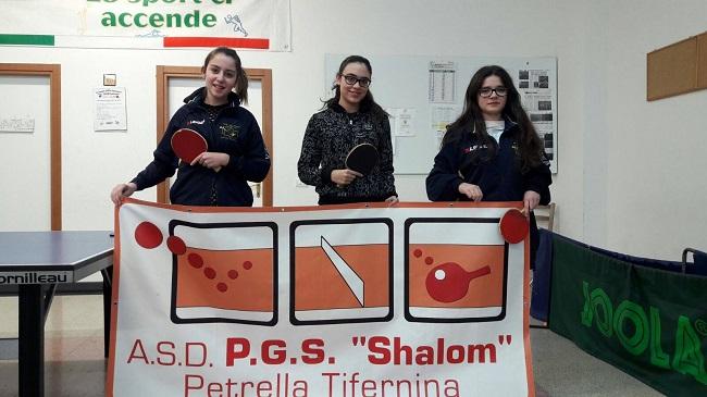 """Tennis tavolo, """"Shalom"""" Petrella 1°classifica al campionato femminile Serie C"""