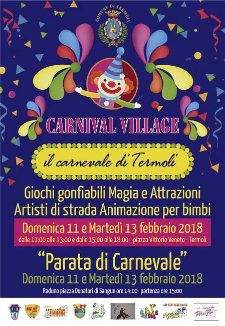 Termoli, Carnevale 2018: carri, maschere e Carnival Village