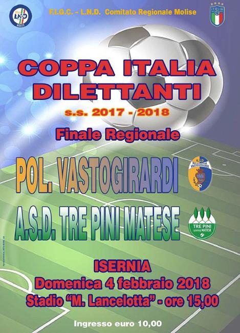 Coppa Italia Dilettanti 2017-18 il 4 febbraio la finale a Isernia