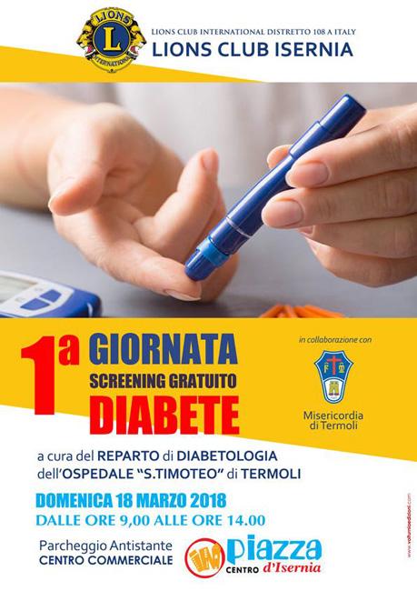 Screening gratuito del diabete il 18 marzo a Isernia