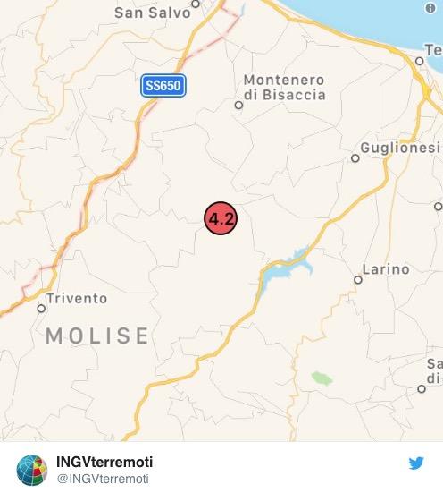 Terremoto in Molise, 4.2 con epicentro Acquaviva Collecroci