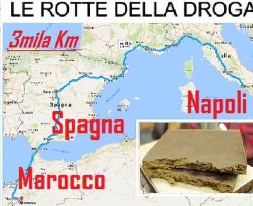 grafico rotta droga Italia Spagna