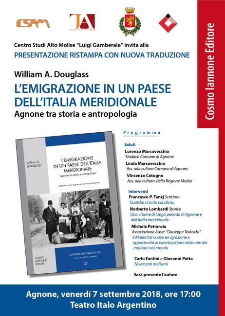 Agnone, il 7 settembre si parla di emigrazione