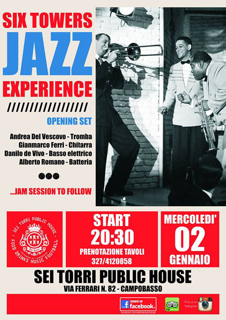 Campobasso, musica Jazz alle Sei Torri il 2 gennaio