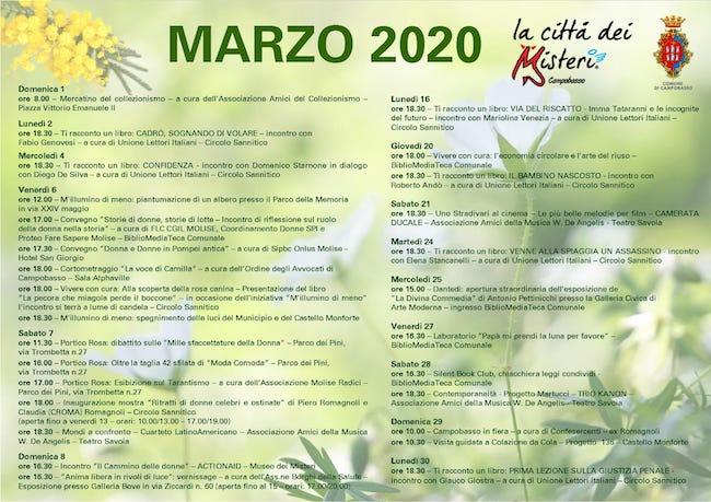 eventi marzo 2020
